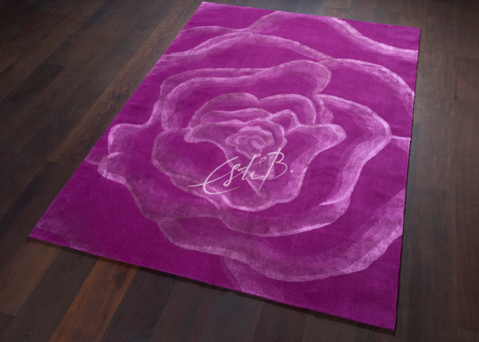 English Rose rug on wooden floor
