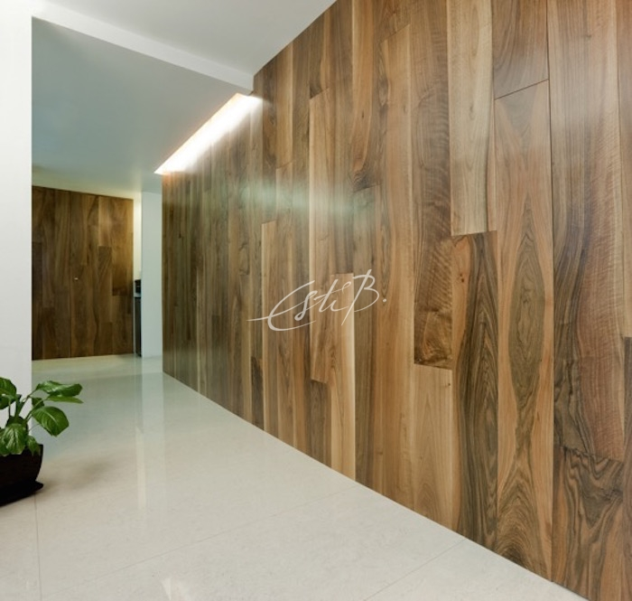 Walnut boards used as wall panelling