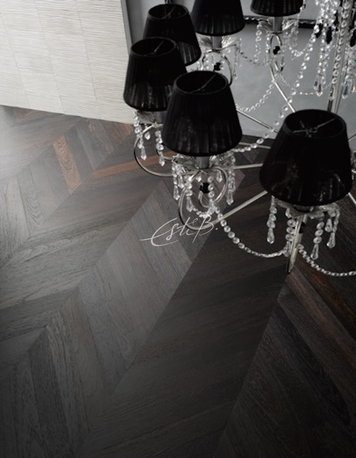 The PC20 Wenge Chevron Parquet comes in a brushed, stained and oiled finish