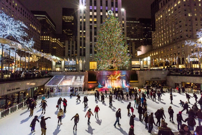 Ice skating at the Rockefeller Centre at Christmas