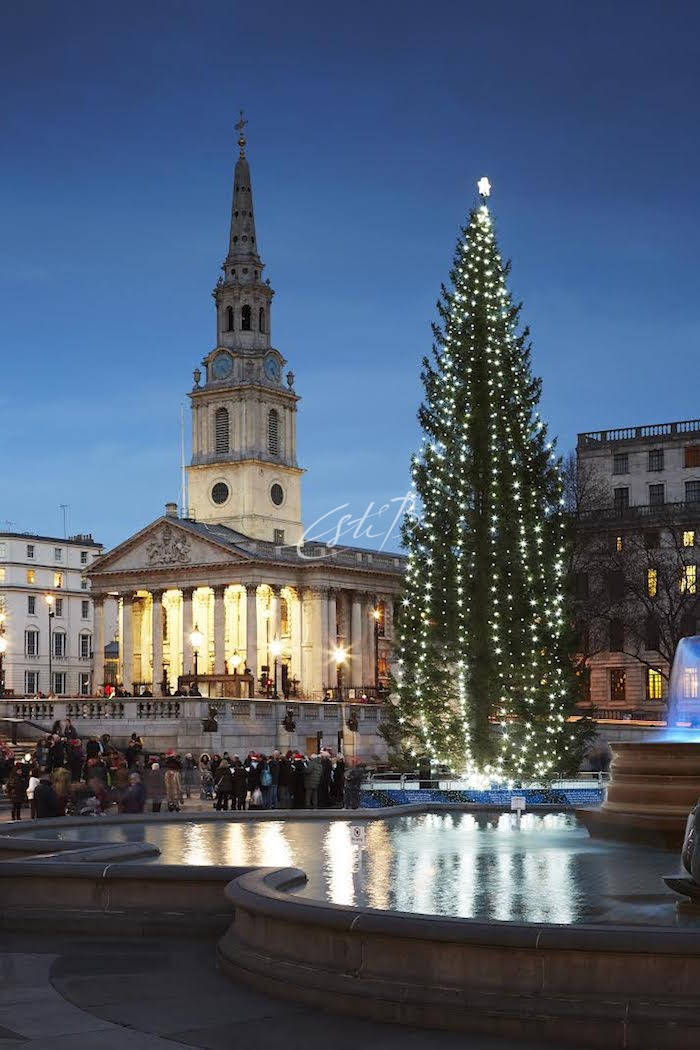 St Martin-in-the-Fields - church lit up at Christmas
