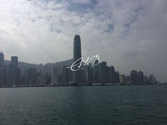 The famous Hong Kong skyline with skyscrapers