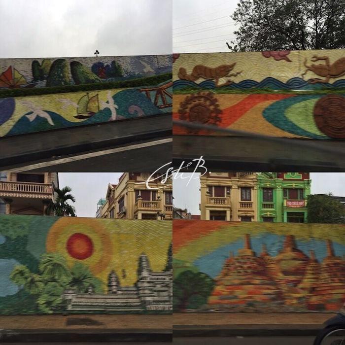 The Ceramic Road - snapshots of the ceramic mosaic along the dyke walls of Hanoi