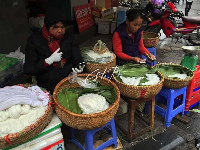 Noodles being prepared in the streets of Hanoi