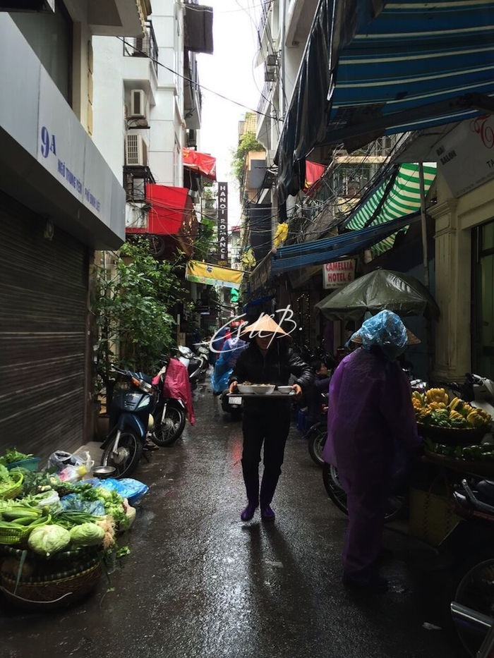 An alley in Hanoi with food for sale