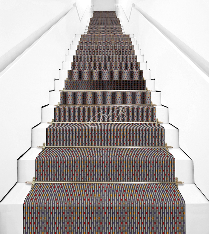 Iguassu carpet on a white staircase