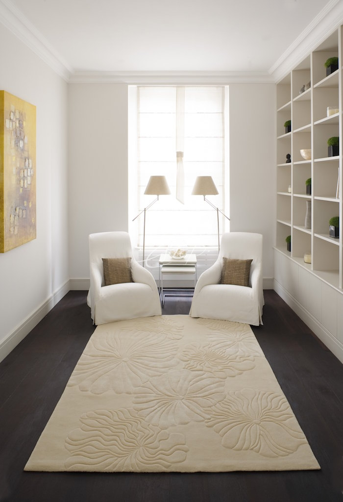 Elena cream rug in a neutral sitting room