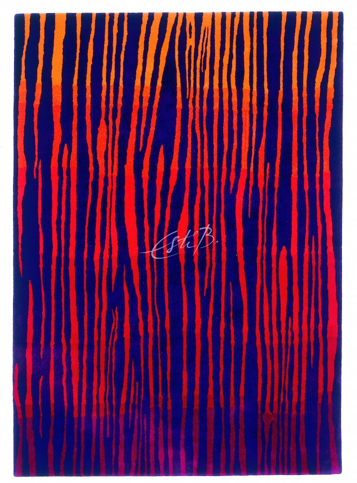 ENERGY rug in dark blue with red pattern