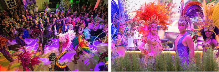 Colourful Brazilian dancers at Design Centre, Chelsea Harbour