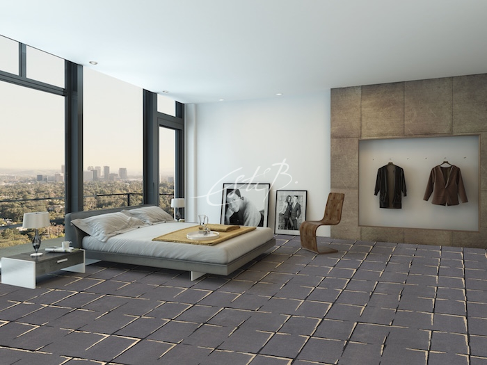 CGI of Brasilia carpet in a large bedroom with city views