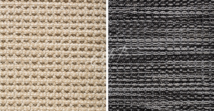 close-ups of textured indoor/outdoor rugs made from polyester