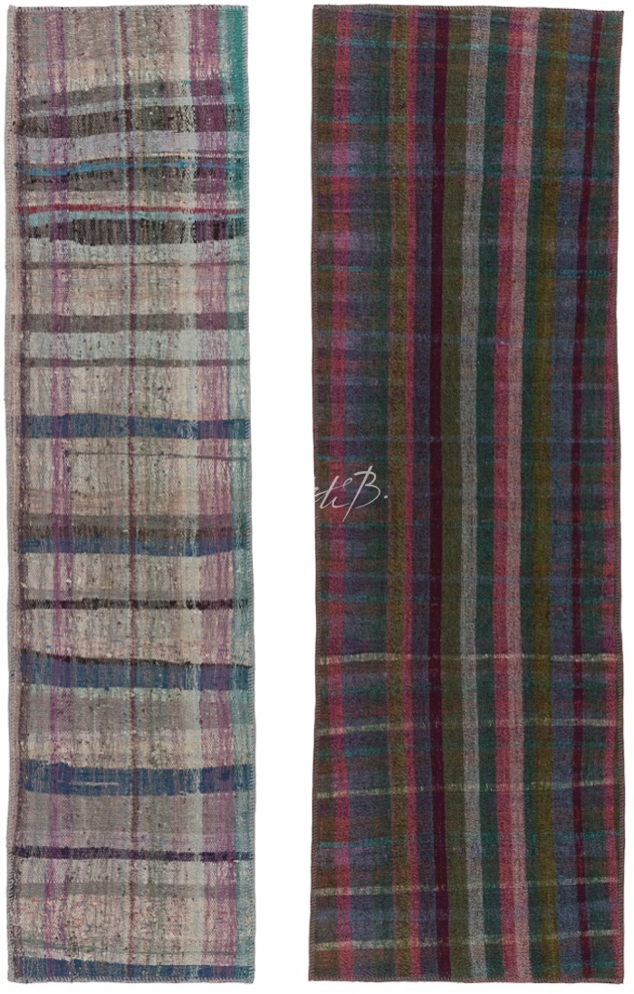 Kilim runners from Re-Weave collection - checked design on the left, striped on the right