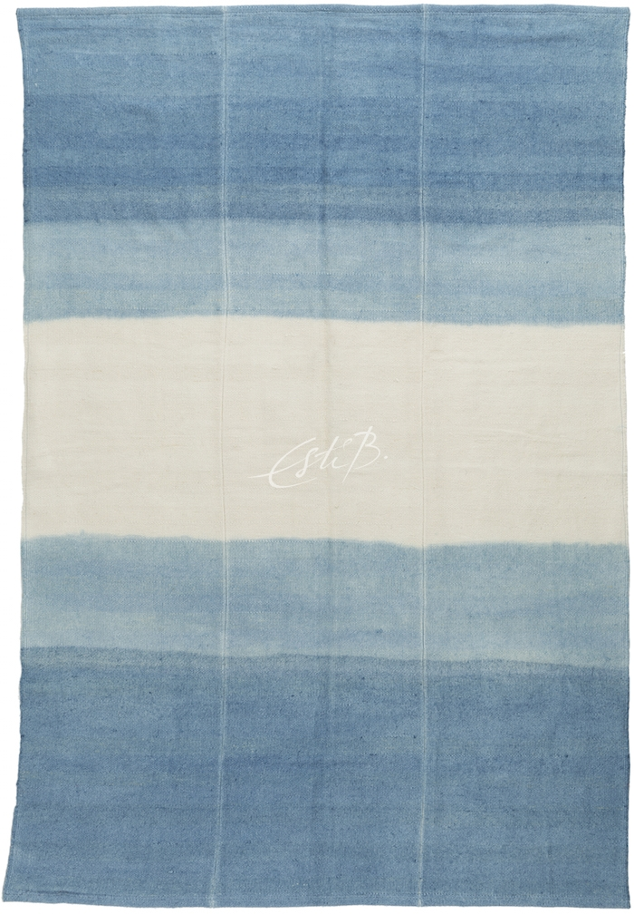 Striped kilim in shades of blue, with a summery feel