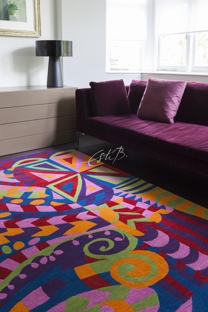 Colourful, vibrant rug in a London home