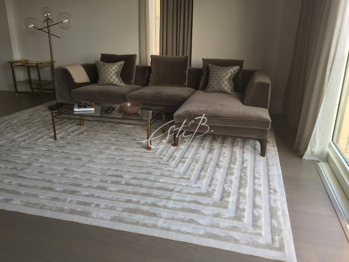 Labyrinth rug in apartment designed by Paul Williams