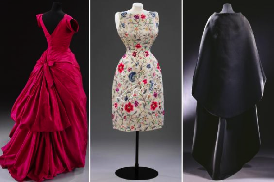 A selection of Cristobel Balenciaga's work available to view at the Balenciaga: Shaping Fashion exhibition at the V&A Museum, London