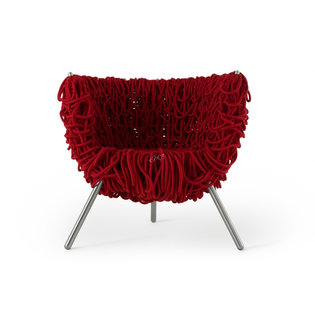 "Red ""Vermelha"" Armchair by Fernando and Humberto Campana for Edra, 1998"