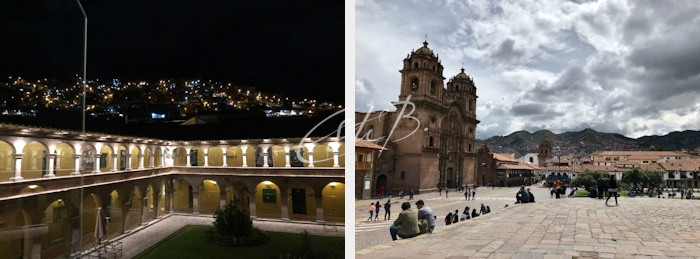 Left: Belmond Monasterio by night; right: Plaza de Armas